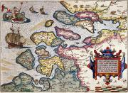 Sea Monster Framed Prints - Map of Zeeland Framed Print by Abraham Ortelius