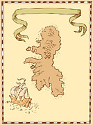 Illustration Of A Treasure Map Showing Island With Sailing Ship Galleon And Ribbon Done In Vintage Style. Prints - Map Treasure Island Tall Ship Print by Aloysius Patrimonio