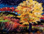Vibrant Colors Pastels Prints - Maple at Night Print by John  Williams