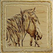 Equine Pyrography Posters - Maple Horse Poster by Chris Wulff