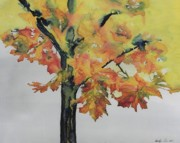 Sky Tapestries - Textiles Prints - Maple On Fire Print by Carolyn Doe