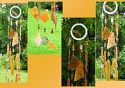 African Glass Art - Maple Sugar Toffee Feng Shui Glass Crystal Wind Chime by Karen Martel