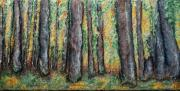 Autumn Woods Reliefs Posters - Maple Trees Poster by Alison  Galvan