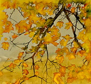 Batik Tapestries - Textiles Metal Prints - Maples In Autumn Metal Print by Carolyn Doe