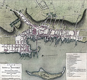 1770s Prints - Maps. A Plan Of The Town Of Newport Print by Everett