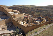 Christian Orthodox Prints - Mar Saba Monastery Print by Munir Alawi