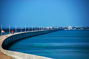 Famous Bridge Metal Prints - Marathon and the 7Mile Bridge in the Florida Keys Metal Print by Susanne Van Hulst