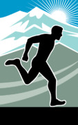 Jogging Metal Prints - Marathon Runner Metal Print by Aloysius Patrimonio