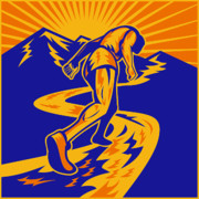 Mountain Road Posters - Marathon runner or jogger on mountain road  Poster by Aloysius Patrimonio