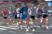 Nyc Digital Art Metal Prints - Marathon Runners I Metal Print by Clarence Holmes