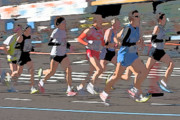 Abstraction Digital Art - Marathon Runners II by Clarence Holmes
