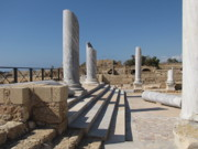 Ancient Photos - Marble Columns at Caesarea by Helaine Cummins