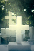 Grave Photo Posters - Marble Crosses Poster by Joana Kruse