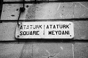 Trnc Posters - marble old street nameplate of ataturk square nicosia TRNC turkish republic of northern cyprus Poster by Joe Fox