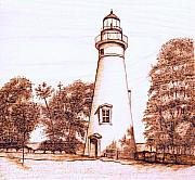 Lighthouse Pyrography - Marblehead Lighthouse by Danette Smith