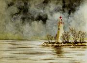 Marblehead Lighthouse In The Winter Print by Michael Vigliotti