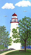 Lighthouses Paintings - Marblehead Lighthouse Painting by Frederic Kohli
