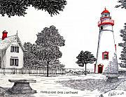 Historic Buildings Prints - Marblehead Ohio Lighthouse Drawing Print by Frederic Kohli