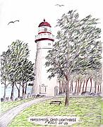 Historic Buildings Images Drawings Framed Prints - Marblehead Ohio Lighthouse  Framed Print by Frederic Kohli