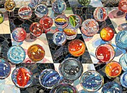 Mosaic Mixed Media Posters - MARBLES - Glass Mosaic NYC Poster by Dan Haraga