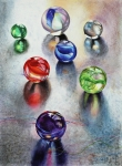 Marbles Paintings - Marbles 1 by Carolyn Coffey Wallace