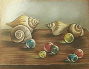 Shells Drawings - Marbles and Shells by Linda Nielsen