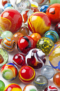 Plaything Prints - Marbles close up Print by Garry Gay