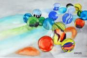 Marbles Paintings - Marbles by Margaret Brackley