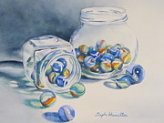 Marble Eyes Paintings - Marbles on Review by Daydre Hamilton