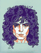T Rex Drawings - Marc Bolan by Suzanne Gee