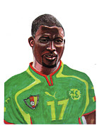 National Football League Drawings Framed Prints - Marc Vivien Foe Framed Print by Emmanuel Baliyanga