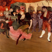Crowd Prints - Marcelle Lender dancing the Bolero in Chilperic Print by Henri de Toulouse Lautrec