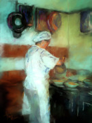 Italian Restaurant Mixed Media Prints - Marcellos Wife Print by Colleen Taylor