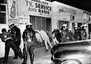 Discrimination Prints - March 1966 Watts Riot. Police Search Print by Everett