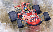Ford Watercolor Framed Prints - March 711 Ford Ronnie Peterson GP Italia 1971 Framed Print by Yuriy  Shevchuk