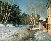 Rural Snow Scenes Framed Prints - March Framed Print by Isaak Ilyich Levitan