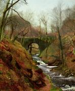Water Flowing Painting Posters - March Morning Poster by John Atkinson Grimshaw