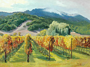 Napa Valley And Vineyards Painting Metal Prints - March of November Metal Print by Paul Youngman