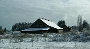 Winter Landscapes Pyrography Metal Prints - March Snows On The Barn Metal Print by Laurie Kidd