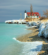 "Cold Temperature Framed Prints - ""march Thaw""  Point Betsie Lighthouse Framed Print by John McCormick"