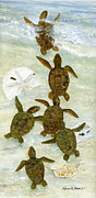 Sea Turtles Painting Originals - March To The Sea by Kevin Brant