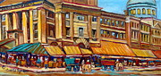 Montreal Landmarks Paintings - Marche Bonsecours Old Montreal by Carole Spandau