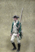Reenactment Art - Marching Loyalist Soldier Revolutionary War by Randy Steele