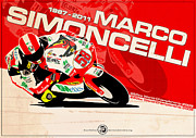 Marco Digital Art Framed Prints - Marco Simoncelli - 250cc 2009 Framed Print by Evan DeCiren