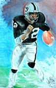 Jon Lester Posters - Marcus Allen Raiders  Poster by Jon Baldwin  Art
