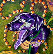 Celebration Pastels Posters - Mardi Dog Poster by D Renee Wilson