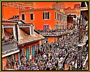 Gras Drawings Framed Prints - Mardi Gras - Bourbon Street Framed Print by AJ  Modiest