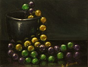 Mardi Gras Paintings - Mardi Gras Beads by Darnell Nicovich