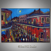 New Orleans Oil Paintings - Mardi Gras - Bourbon Street - New Orleans by BenWill