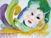 Celebrations Paintings - Mardi Gras Elegance by AnnE Dentler